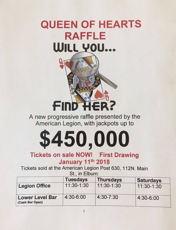 Elburn Lions Queen of Hearts Raffle