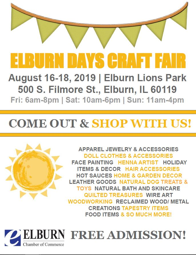 Elburn Days Craft Show Flyer 2019